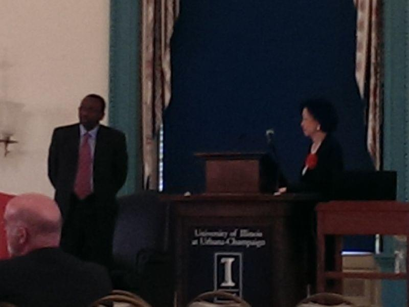 U of I Urbana Provost Ilesami Adesida and Chancellor Phyllis Wise at Thursday's Town Hall meeting.
