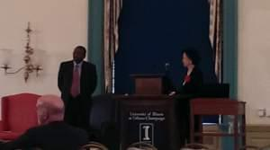 U of I Urbana Provost Ilesami Adesida and Chancellor Phyllis Wise at Thursday's Town Hall meeting.