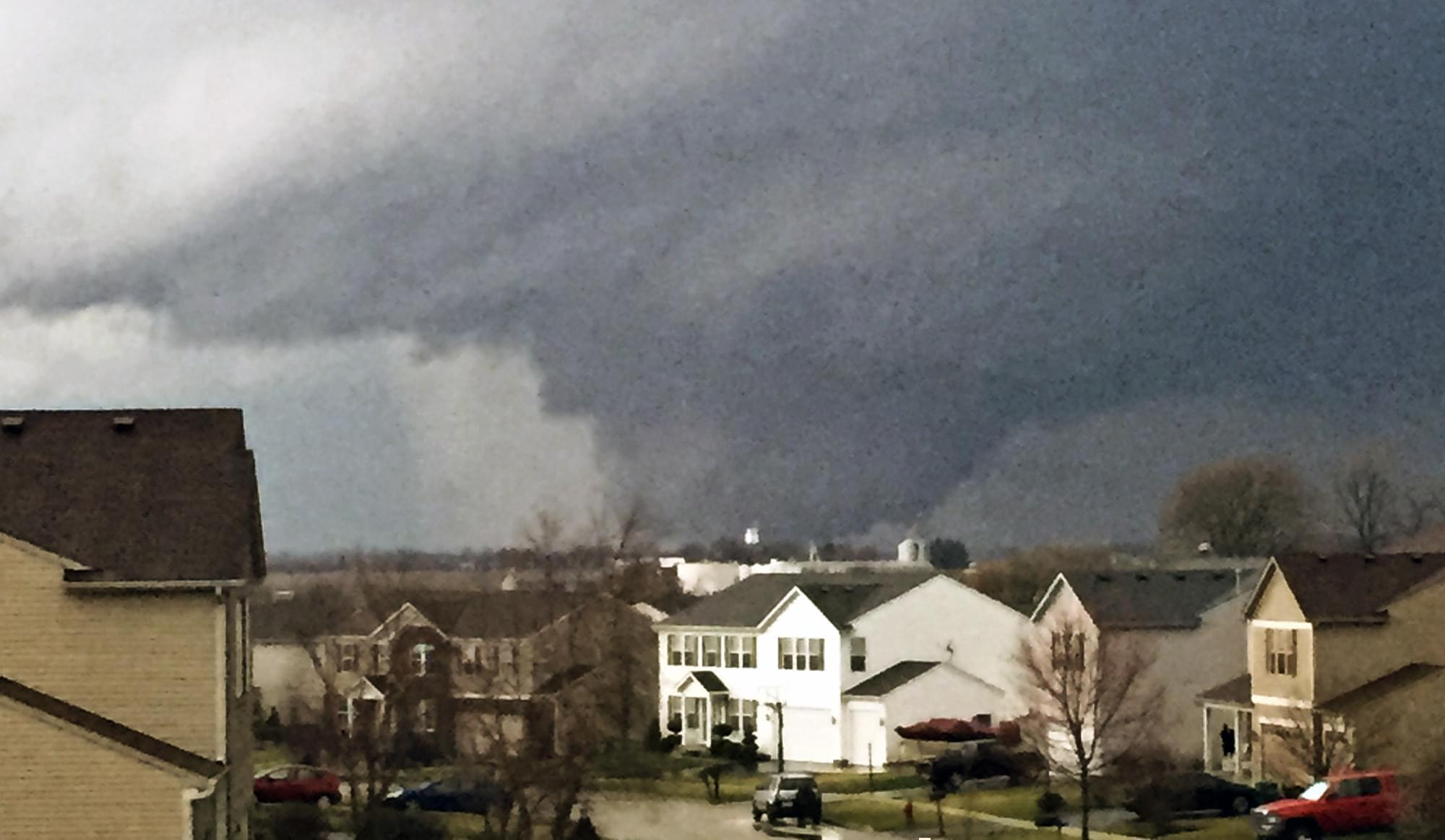 A tornado is viewed near Pearl Street from a home  in Kirkland, Ill., on Thursday, April 9, 2015. One person was killed in the tiny community of Fairdale, James Joseph with the Illinois Department of Emergency Management said.
