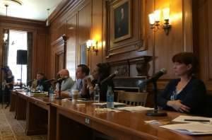Members of the Illinois Senate attend a hearing at the Illini Union in Urbana Monday.