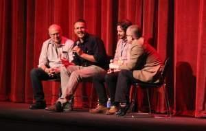 Ebertfest Director Nate Kohn, actor Jason Segel, director James Ponsoldt, and film critic Matt Zoller Seitz of Roger Ebert.com.