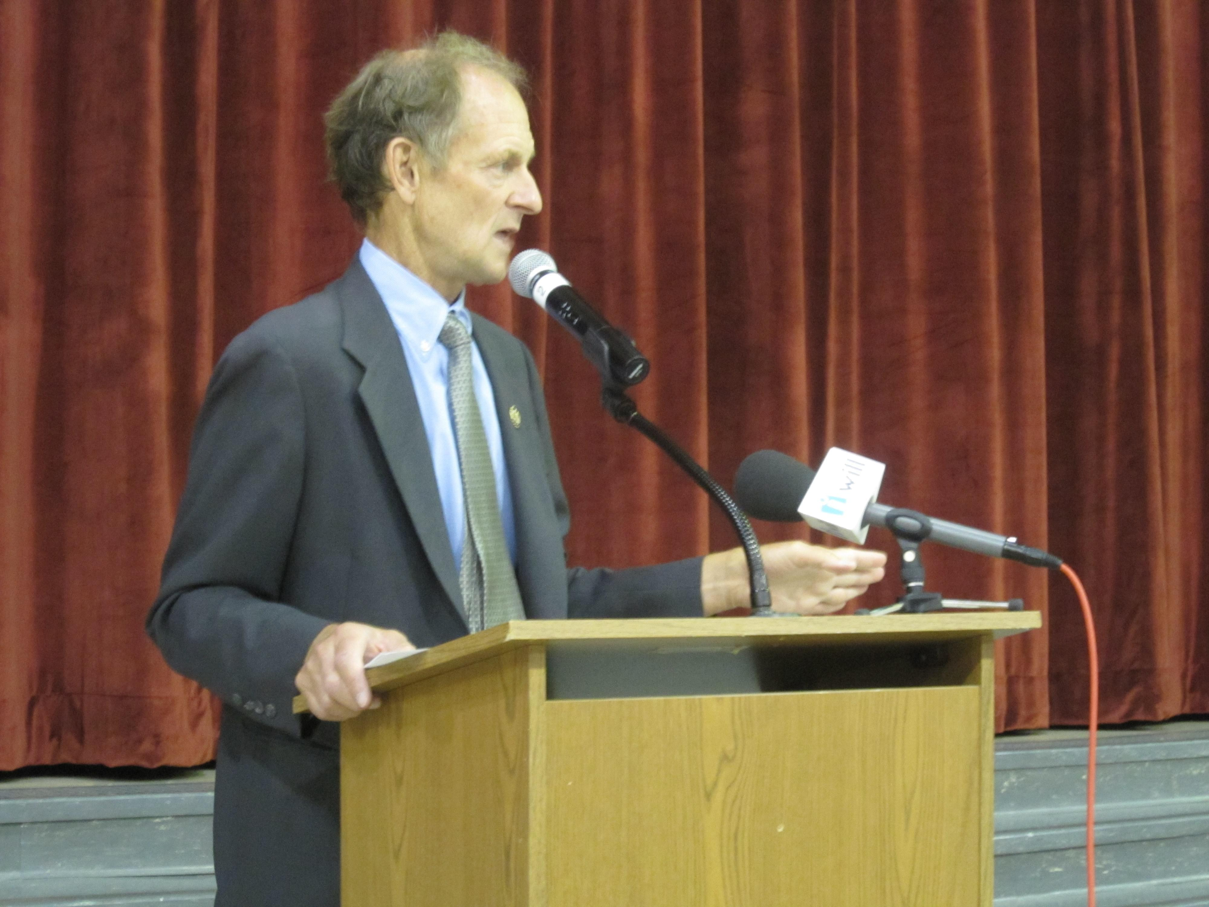 Tim Johnson during a 2012 press conference at Urbana High School, shortly before his retirement.