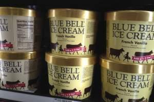 Blue Bell ice cream stands for sale on a grocery store shelf in Lawrence, Kan., Friday, April 10, 2015.