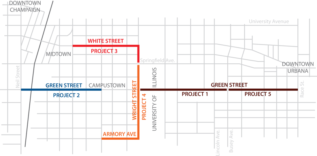 A map of the construction work scheduled for the MCORE project.