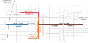 A map of the construction work scheduled for the the MCORE project.