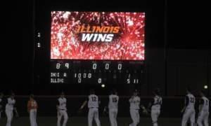 Scoreboard at Illinois Field after last Friday's 5-1 win over Indiana.