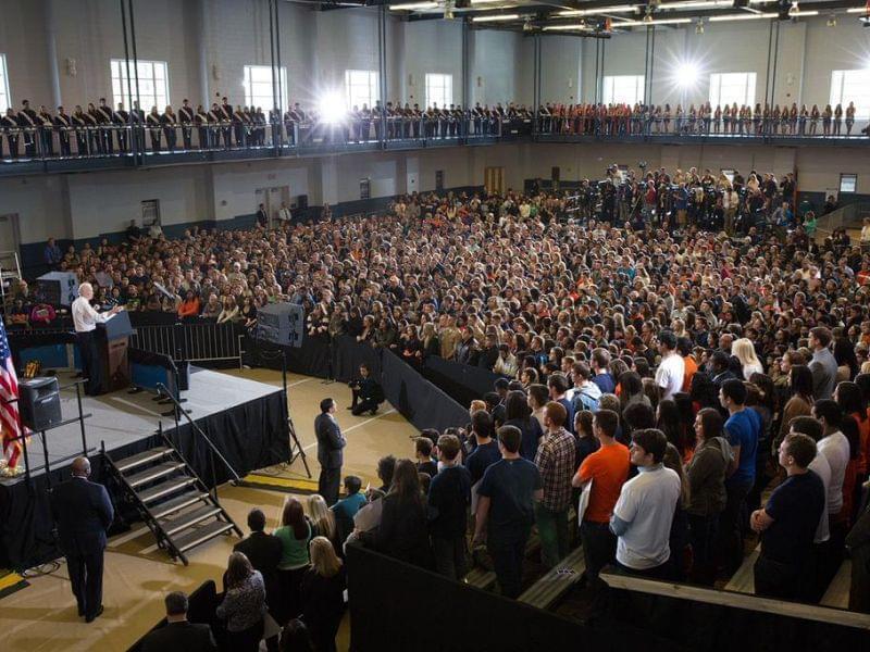 photo of vice president Joe Biden at the University of Illinois