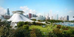 An architectural rendering of the proposed Lucas Museum of Narrative Art, which may be built on Chicago's lakefront.