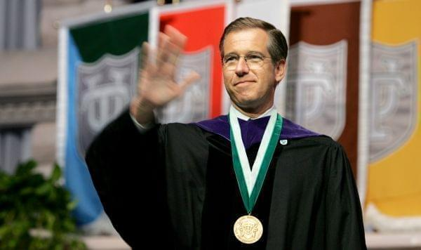 NBC News anchor Brian Williams, waving at graduation ceremonies at Tulane University.