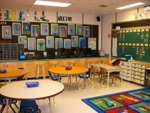 An empty elementary school classroom