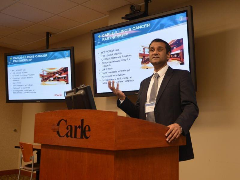 Rohit Bhargava, the Coordinator of the Cancer Community @ Illinois, announces the C*STAR program at the Cancer Community @ Illinois Spring Reception