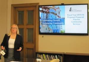 Champaign City Manager Dorothy Davis runs through the proposed 2015-16 financial plan at the city building Tuesday.