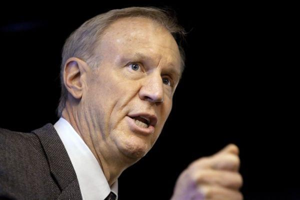In this March 4, 2015 file photo, Illinois Gov. Bruce Rauner speaks at an event in Springfield, Ill. Democrats in the Illinois House voted down a plan similar to Gov. Rauner's proposal to allow local governments to permit workers to opt out of u