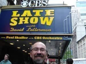 David Thiel in front of the Late Show marquee.