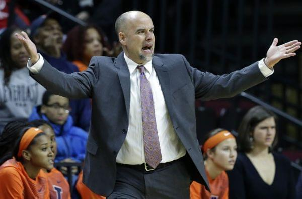 Illinois head coach Matt Bollant reacts to a call against Rutgers on Tuesday, February 17 in Piscataway, N.J.