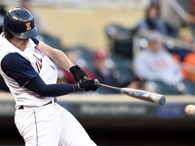 Illini Pat McInerney hits an RBI single off Nebraska pitcher Colton Howell.