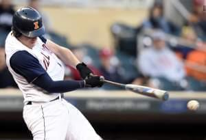 Illini Pat McInerney hits an RBI single off Nebraska pitcher Colton Howell during the eighth inning of Wednesday's first-round NCAA Big Ten tournament win in Minneapolis.