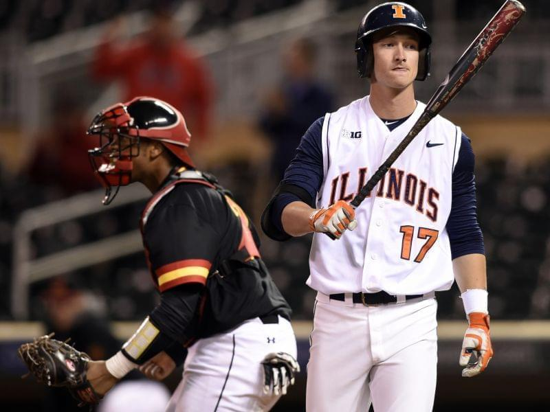 Illinois infielder Matthew James reacts to striking out against Maryland closing pitcher Kevin Mooney in Illinois'  second-round NCAA Big Ten tournament loss Thursday in Minneapolis. Maryland won 2-1.