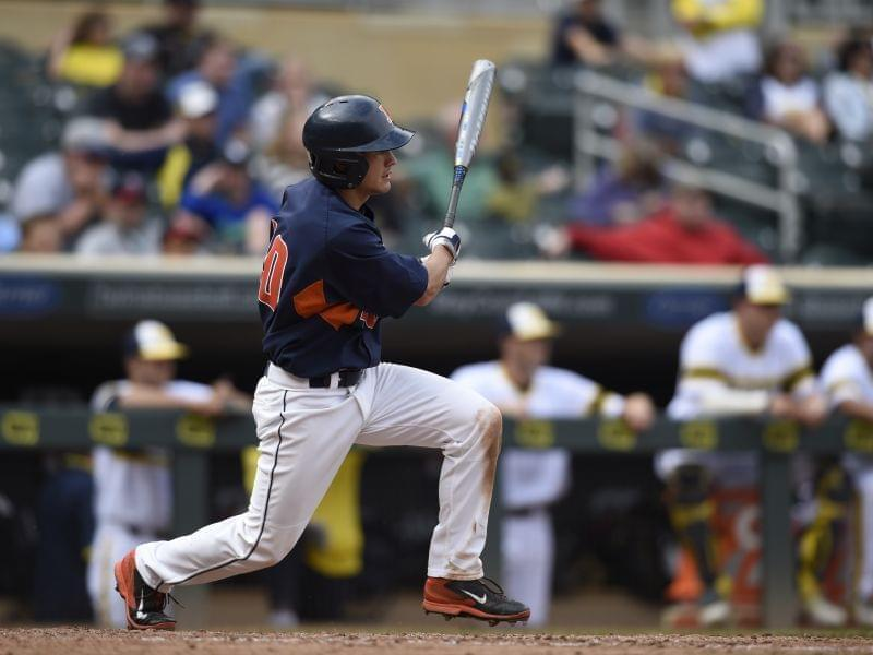 Illinois outfielder Will Krug bats against Michigan during the eighth inning of Saturday's fourth-round NCAA Big Ten Tournament 5-3 loss to Michigan.