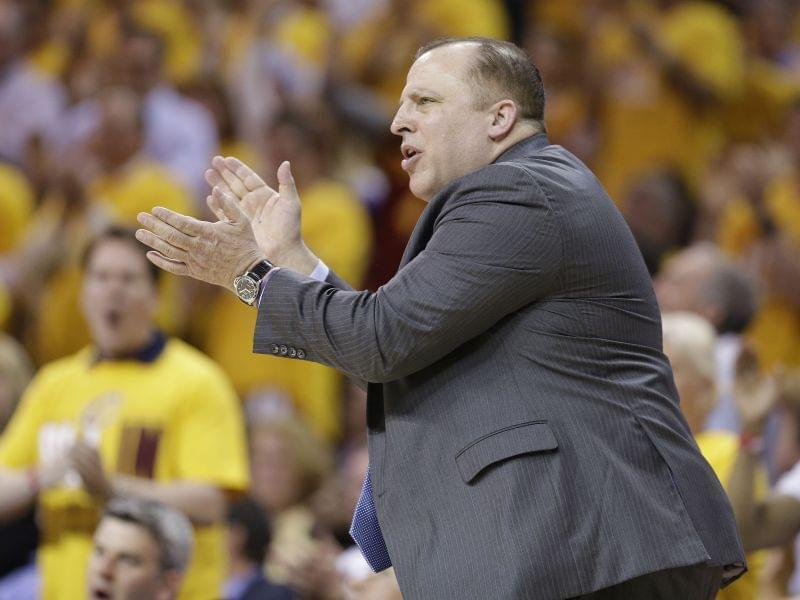 Former Chicago Bulls head coach Tom Thibodeau encourages his players during the second half of Game 1 against the Cleveland Cavaliers in a second-round NBA basketball playoff series Monday, May 4, 2015, in Cleveland.