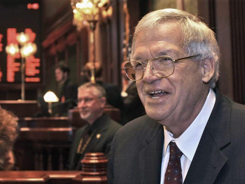 A March 5. 2008 file photo shows former U.S. House Speaker Dennis Hastert visiting the Illinois House of Representatives floor at the state Capitol in Springfield,