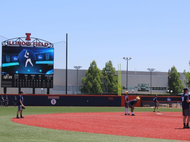 The Notre Dame baseball team practices at Illinois Field in Champaign Thursday.  The stadium's first-ever NCAA Regional begins Friday.
