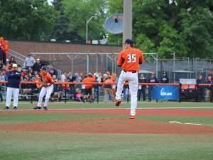 Illinois pitcher Drasen Johnson delivers in Sunday's 3-0 win over Notre Dame.  They'll take on Wright State for the NCAA regional title game Monday.