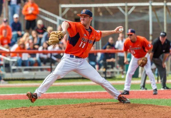 Illini relief pitcher Tyler Jay delivers during Monday's 8-4 defeat of Wright State at Illinois Field.  Jay pitched four scoreless innings in his only appearance of the NCAA regional.