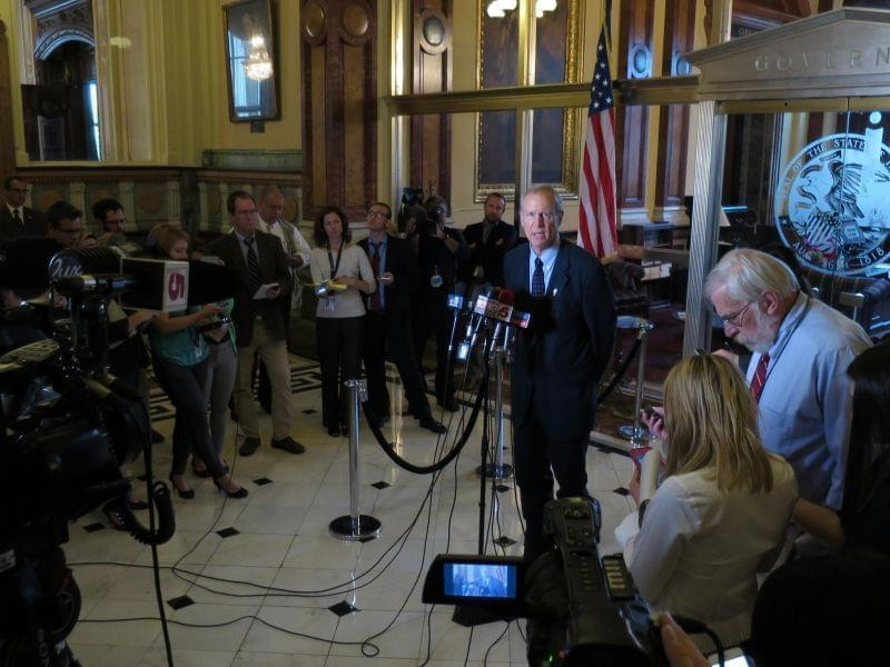 Gov. Bruce Rauner at a press conference on the final day of the legislature's session on Sunday.