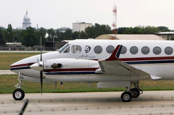In this Sept. 24, 2007, file photo, an Illinois state-owned aircraft is seen within sight of the state Capitol as it prepares to take off from the Abraham Lincoln Capital Airport in Springfield