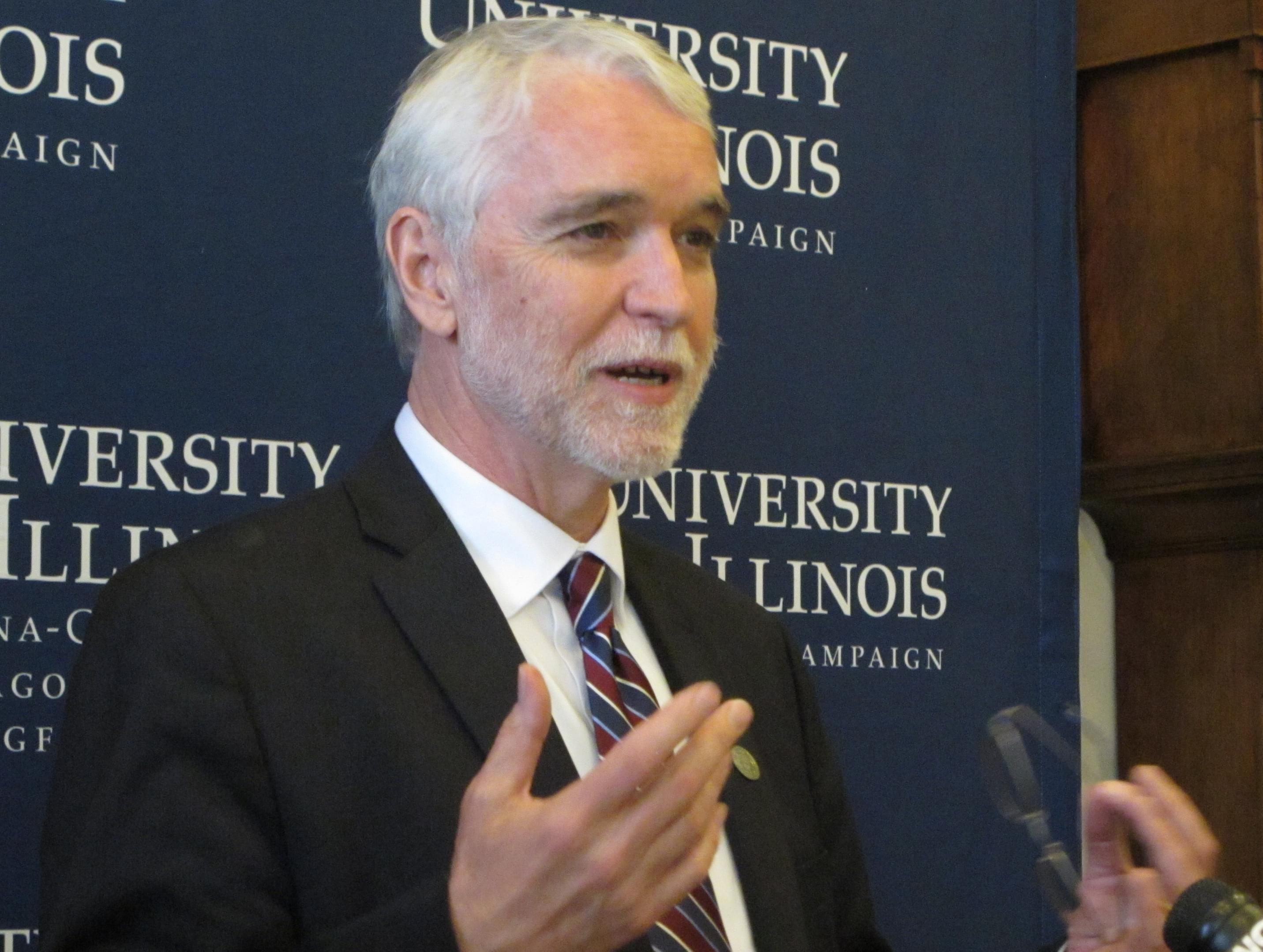 New University of Illinois President Timothy Killeen speaks to reporters in his office Monday, May 18, 2015 in Urbana