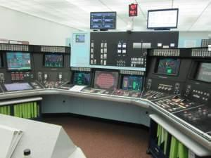 A view of one of the control consoles at the training center of the Exelon Clinton nuclear power station in DeWitt County.