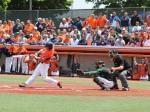 David Kerian doubles against Wright State during Monday's 8-4 NCAA Regional win.
