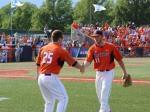 Illini catcher Mark Skonieczny congratulates Tyler Jay after exiting the game in Monday's 4-2 loss to Vanderbilt.