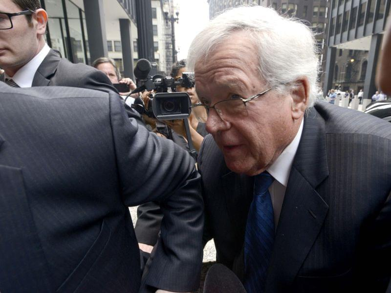 Former House Speaker Dennis Hastert arrives at the federal courthouse Tuesday in Chicago for his arraignment on federal charges that he broke federal banking laws and lied about the money when questioned by the FBI