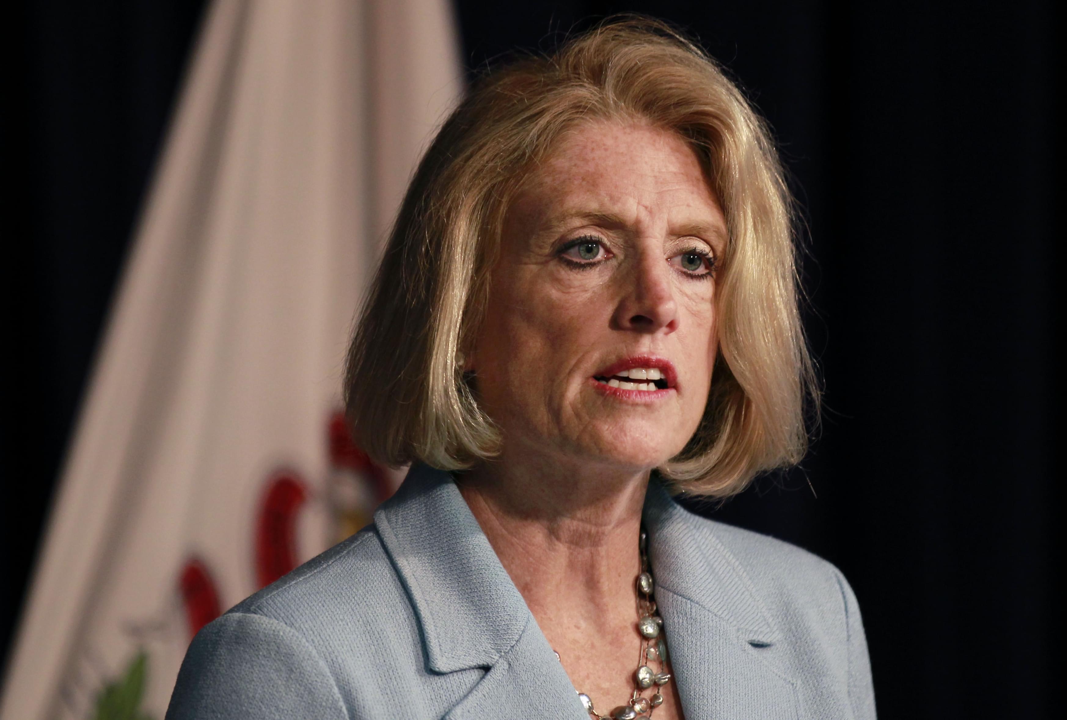 Comptroller Leslie Munger speaks during a news conference, Wednesday in Chicago.