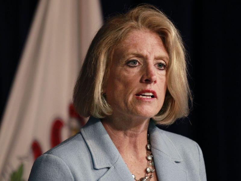 Comptroller Leslie Munger speaks during a news conference, Wednesday in Chicago.