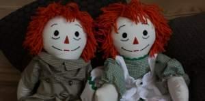 Raggedy Ann and Raggedy Andy dolls.