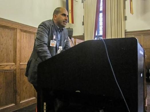 Steven Salaita speaking at the YMCA.