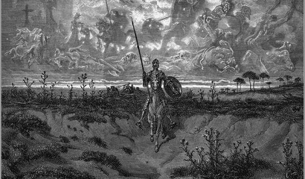 Illustration of Don Quixote on a horse.