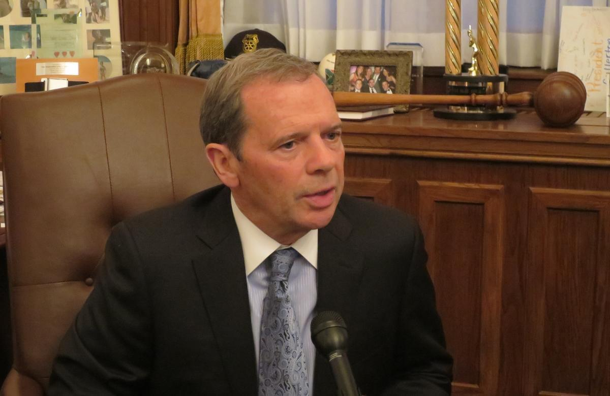 Illinois Senate President John Cullerton in his Springfield office.