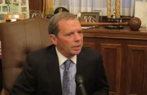 Illinois Senate President John Cullerton in his Springfield office.
