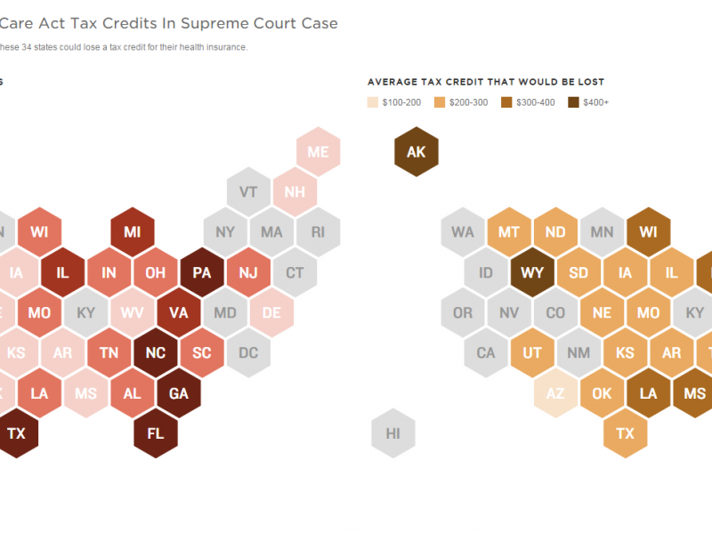 data map showing which states would be most affected by a ruling against the federal subsidies under the affordable care act