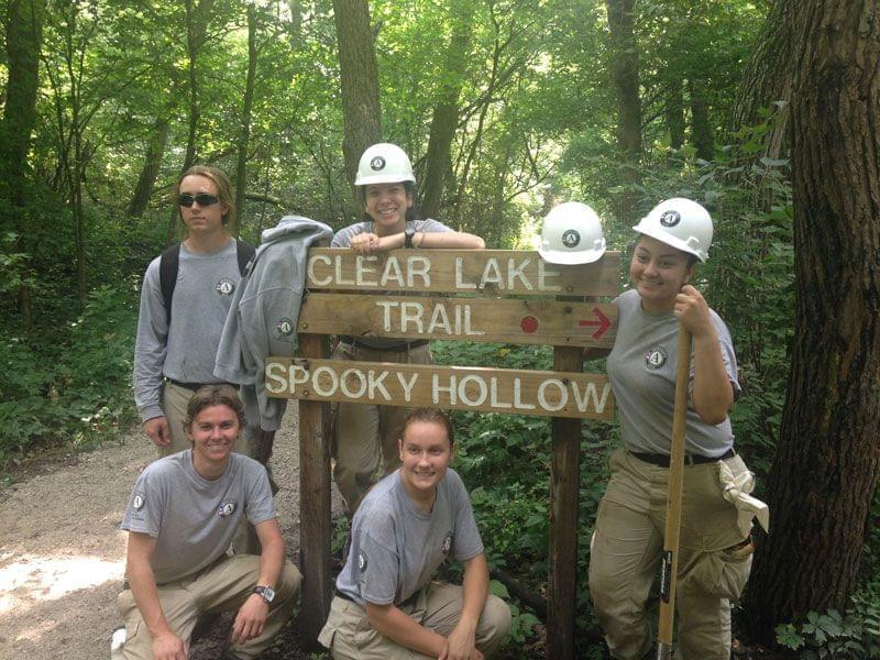 AmeriCorps Oak 5 on the Clear Lake Trail at Kickapoo State Park.