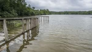A deck is nearly submerged after a heavy rainstorm in Danville last month (June 2015)