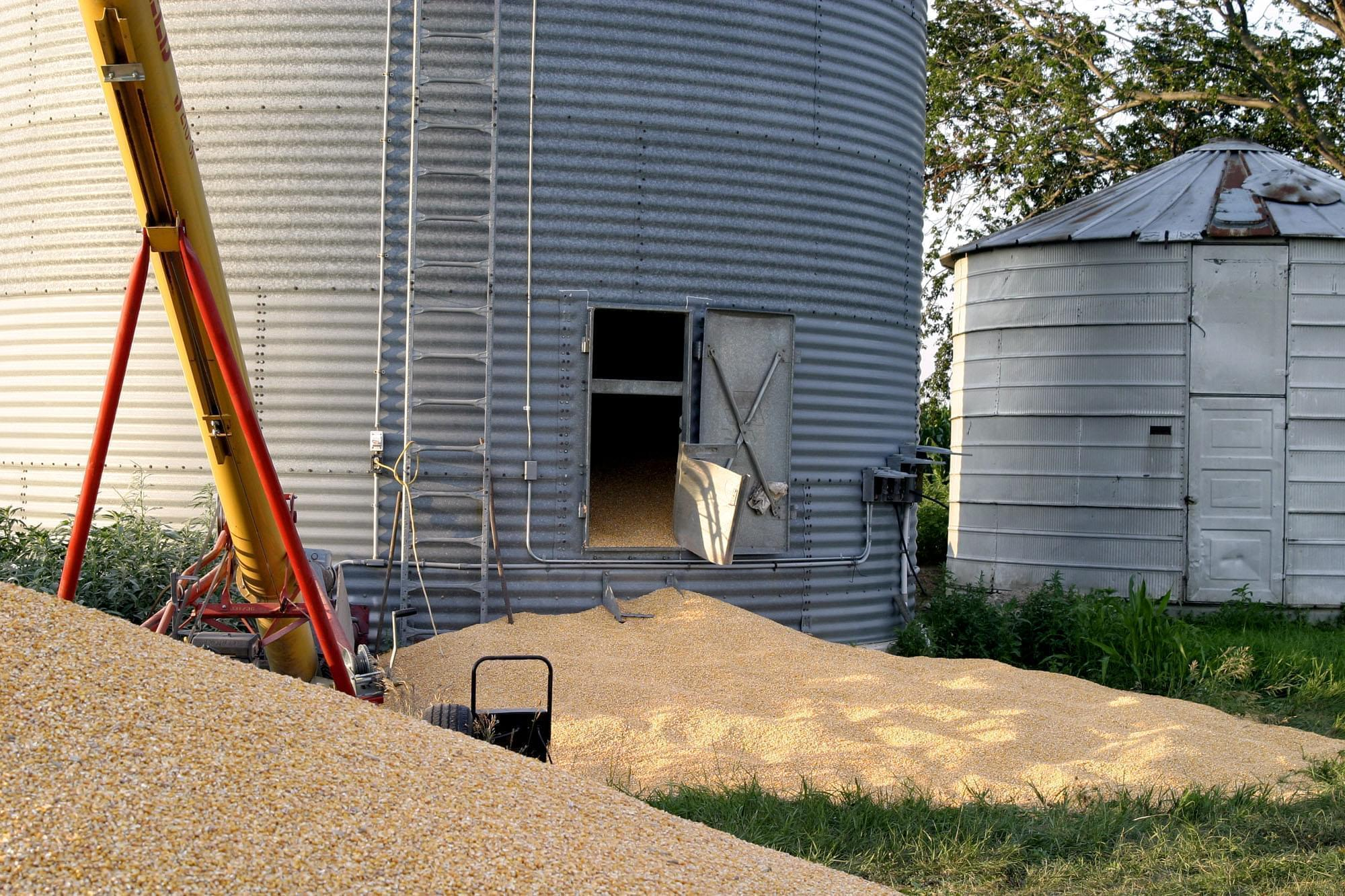 The door on a grain bin remains open following an accident in Story County, Iowa on July 11, 2005, which killed a 72-year-old Nevada, Iowa man after he and two others were loading a semitrailer with grain.
