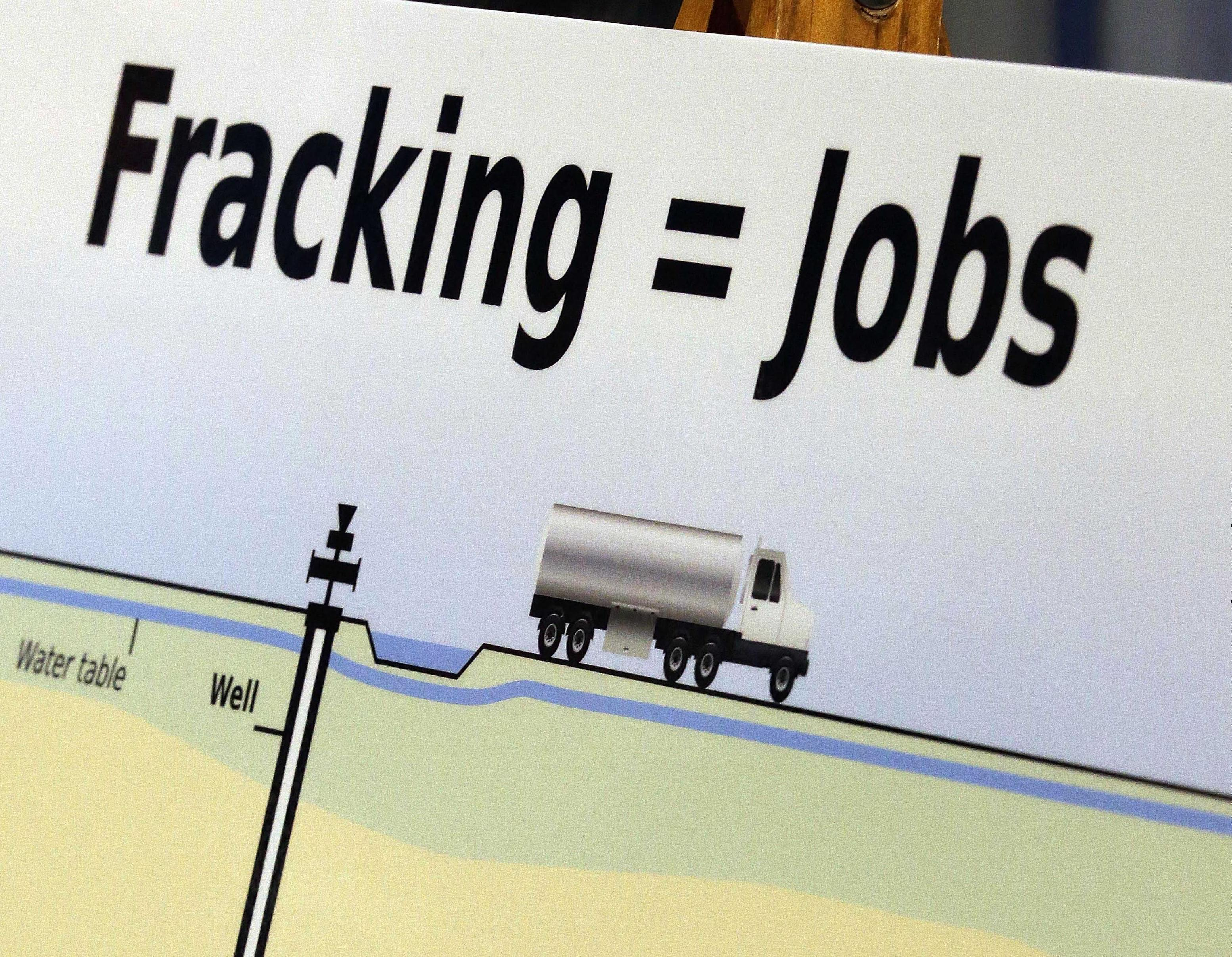 """In this April 30, 2013 file photo, a poster projecting job and economic growth related to """"fracking"""" is used by lawmakers  at the state Capitol in Springfield."""