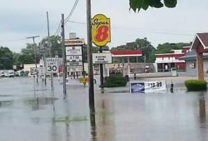 A view of flooding down West Walnut Street in Watseka.