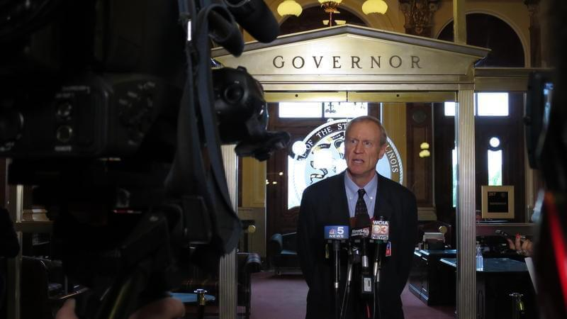 Governor Bruce Rauner at a press conference.