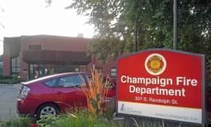 A sign in front of a Champaign Fire Department station in downtown Champaign.